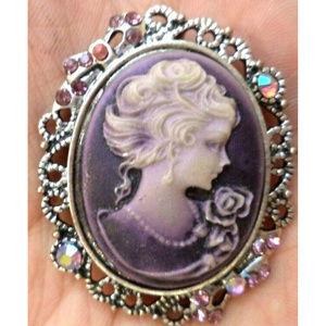 Ab rhinestone purple silver cameo brooch pin